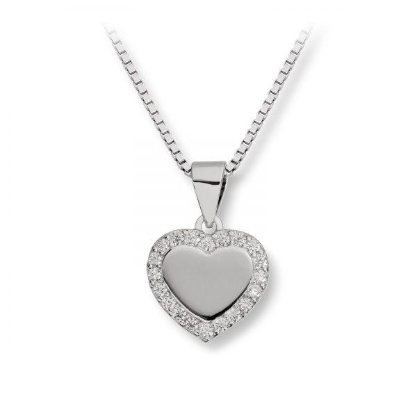 Mestergull Flott hjerteanheng i rhodinert sølv med crystal MG BASIC Anheng