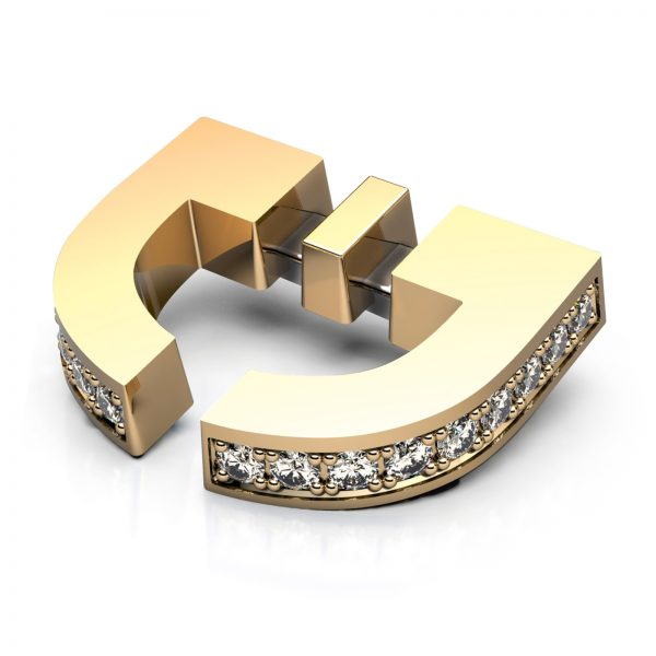 Mestergull Jakkemerke eller tie-tack i gult gull 585 med 24 diamanter - totalt 0,12 ct. HSI. Kundens logo er utgangspunktet for designet og trukket opp i tredimensjonal form. DESIGN STUDIO Spesialdesign Nål
