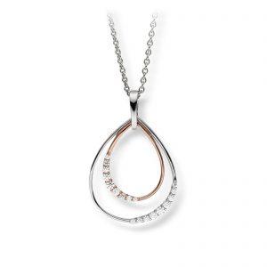 Mestergull Elegant anheng i rhodinert og rosè forgylt sølv med cubic zirkonia VIVENTY Anheng