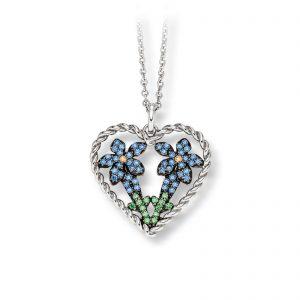 Mestergull Lekkert anheng i rhodinert sølv med blå, grønne og gule cubic zirkonia VIVENTY Anheng