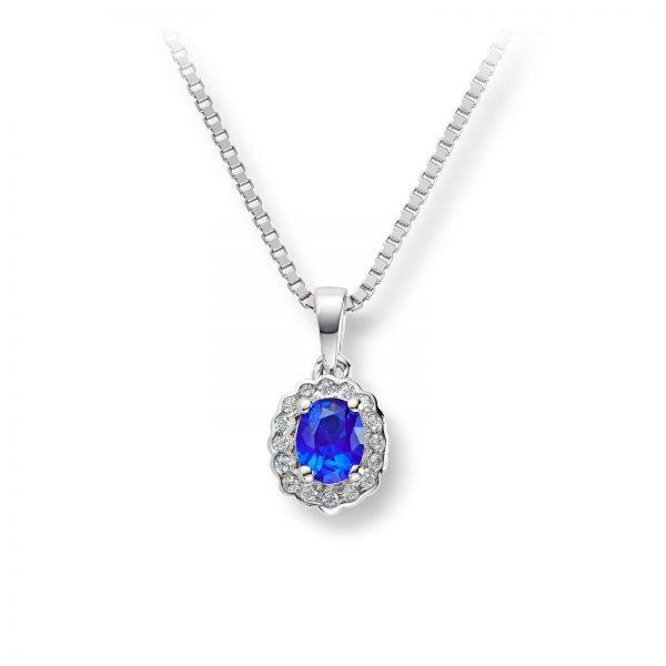 Mestergull Klassisk anheng i rhodinert sølv med blå og hvit cubic zirkonia GID Anheng