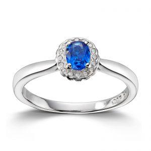 Mestergull Klassisk ring i rhodinert sølv med blå og hvit cubic zirkonia GID Ring