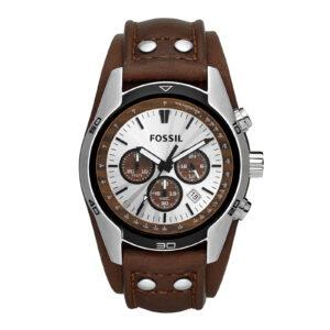 Mestergull Gå casual med dette rustfritt stål uret. Tan dial gir tre aksenter og kronograf bevegelse gir ekstra funksjonalitet. Den brune ekte lærremmen har sølvtone-studdetaljer og gir dette et sporty utseende du vil elske. FOSSIL Ur