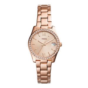 Mestergull Scarlette, nydelig ur med 3 visere og en bezel med skinnende krystaller FOSSIL Ur