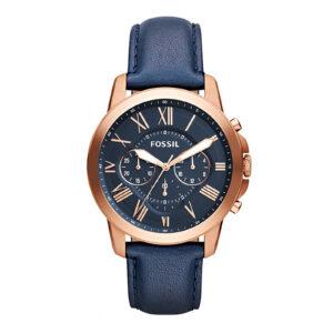 Mestergull Med rike blå skinn og tegnsatte romerske tall, har vår klassiske Grant-klokke alt du trenger for en best-dressed sesong. FOSSIL Ur