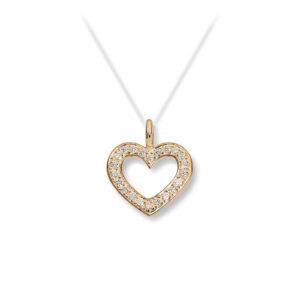 Mestergull Lekkert hjerteanheng i gult gull med diamanter MG DIAMONDS Anheng