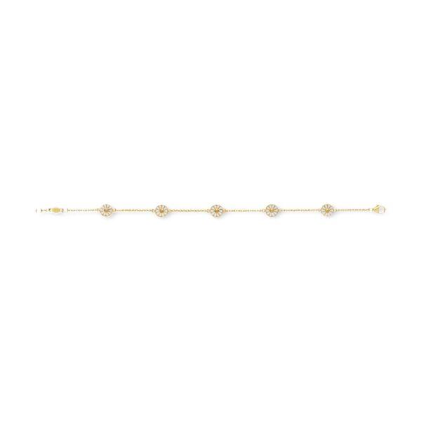 Mestergull Daisy armbånd i 18k forgylt sølv med hvit emalje GEORG JENSEN Daisy Armbånd
