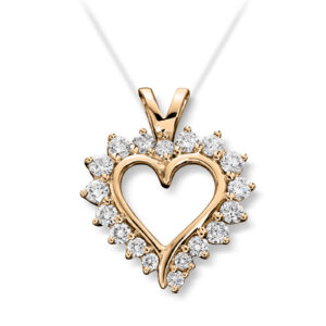 Mestergull Vakkert diamanthjerte i gult gull, Mestergull-hjertet er et av våre signatursmykker MG DIAMONDS Anheng