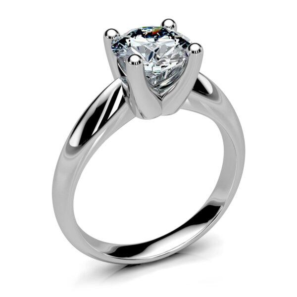 Mestergull Enstens ring i hvitt gull 585 utviklet med myke former i et design etter kundens ønske. Diamanten er 1,00 ct. HSI trippel excelent. En lekker klassisk solitaire DESIGN STUDIO Solitaire Ring
