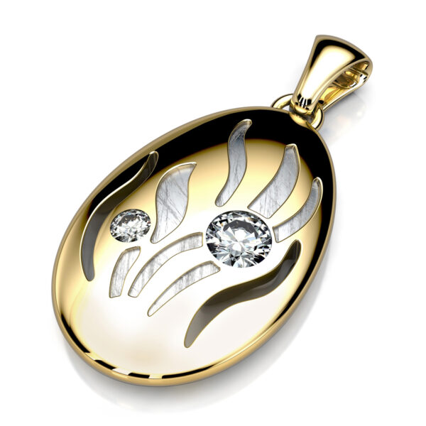 Mestergull Anheng i gult gull utviklet etter skisse fra kunde. Designet er utført i gult gull 585 med både gjennombrutt partier og nedsenket mønster med stiftrhodinering. 2 diamanter er fattet, 0,16 ct. + 0,04 ct. DESIGN STUDIO Spesialdesign Anheng