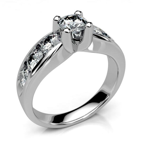Mestergull Spesiallaget ring for gjenbruk av kundens diamanter. Ringen er utført i hvitt gull 585 i kraftig utførelse DESIGN STUDIO Spesialdesign Ring