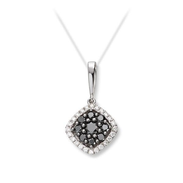 Mestergull Vakkert anheng i hvitt gull med sorte og hvite diamanter MG DIAMONDS Anheng