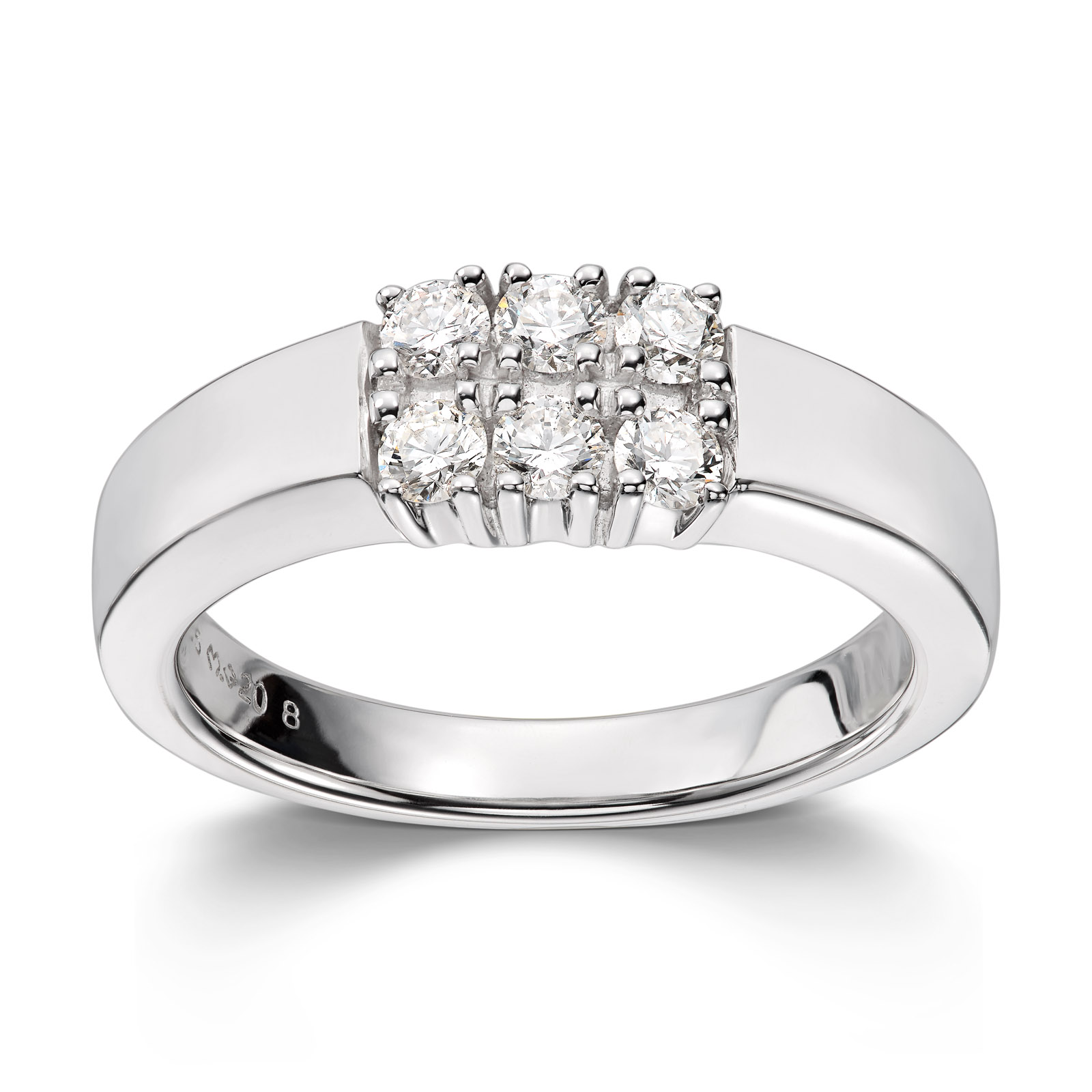 Mestergull Klassisk allianse ring med diamanter i dobbel rekke ALLIANSE Dia. 0,08 ct. Ring
