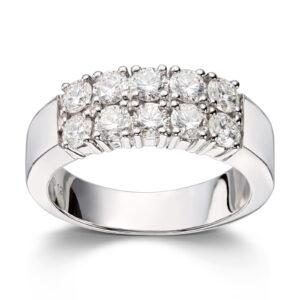 Mestergull Klassisk allianse ring med diamanter i dobbel rekke ALLIANSE Dia. 0,12 ct. Ring