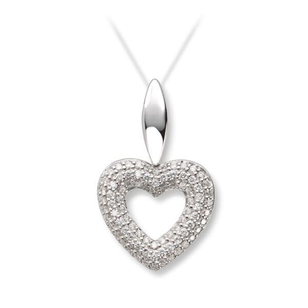 Mestergull Elegant hjerteanheng i hvitt gull med diamanter MG DIAMONDS Anheng