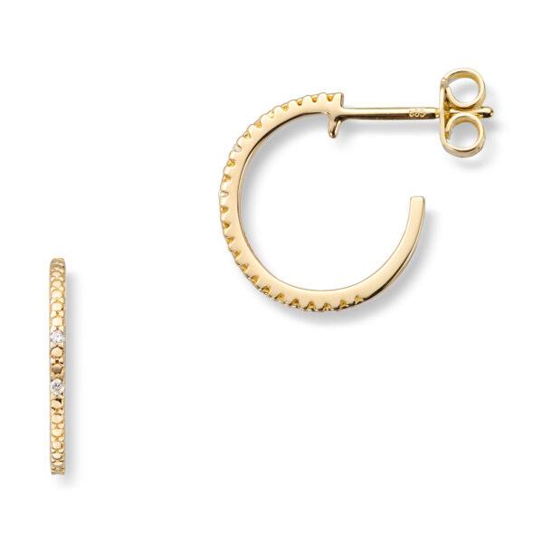 Mestergull Lekkre øreringer i gult gull med diamanter MG DIAMONDS Ørepynt