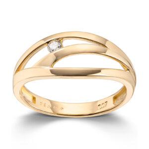 Mestergull Lekker ring i gult gull med diamant MESTERGULL Ring