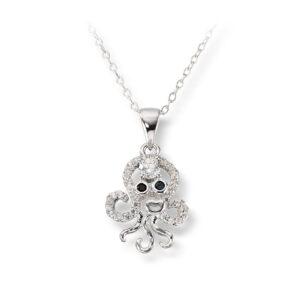 Mestergull Søtt kjede i rhodinert sølv med crystal - Blekksprut MESTERGULL Anheng