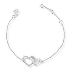 Mestergull Flott armbånd i rhodinert sølv med hjerter og cubic zirkonia GID Armbånd