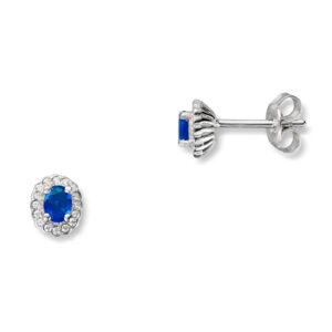 Mestergull Klassisk ørepynt i rhodinert sølv med blå og hvit cubic zirkonia GID Ørepynt
