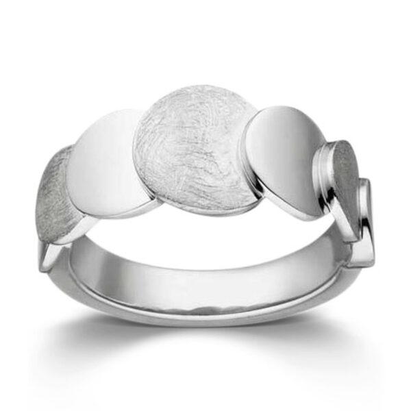 Mestergull Lekker ring i rhodinert sølv med matte og blanke felter VIVENTY Ring