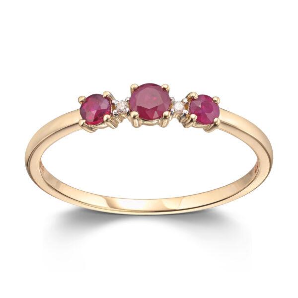 Mestergull Lekker ring i gult gull med diamanter og rubin MESTERGULL Ring