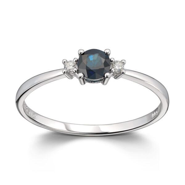 Mestergull Lekker ring i hvitt gull med diamanter og safir MG DIAMONDS Ring