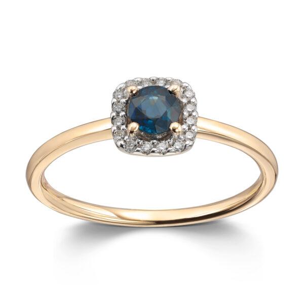 Mestergull Lekker ring i gult gull med diamanter og safir MG DIAMONDS Ring