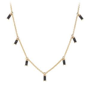 Mestergull Kjede i sølv 925S forgylt med 18K gull, med blankpolert overflate og baguetteslepne sorte Zirkonia. SIF JACOBS JEWELLERY Princess Kjede