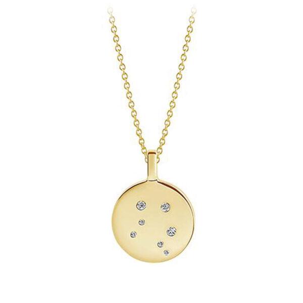Mestergull Anheng i sølv 925S forgylt med 18K gull, med blankpolert overflate og fasettslepne klare Zirkonia. SIF JACOBS JEWELLERY Zodiaco Anheng