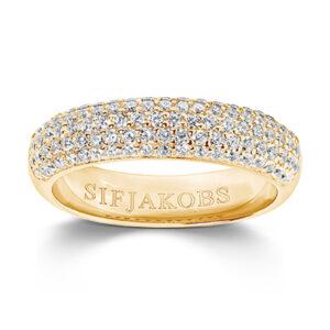 Mestergull Ring i sølv 925S forgylt med 18K gull, med blankpolert overflate og fasettslepne klare Zirkonia. SIF JACOBS JEWELLERY Melazzo Ring