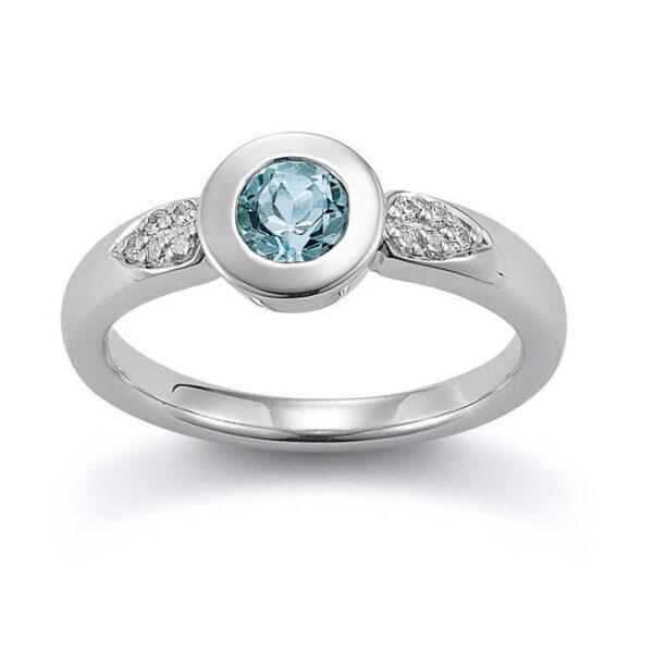 Mestergull Lekker ring i rhodinert sølv med blå topas og cubic zirkonia VIVENTY Ring