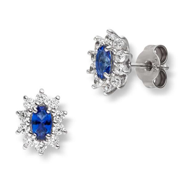 Mestergull Klassisk ørepynt i rhodinert sølv med synt. blå topas og cubic zirkonia VIVENTY Ørepynt