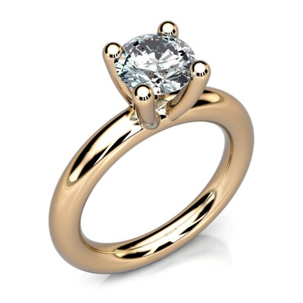Mestergull Enstensring laget til kunde basert på serien MILL. Ringskinnen er her gjort likeløpende rund. Diamant 1,02 ct. DESIGN STUDIO Spesialdesign Ring