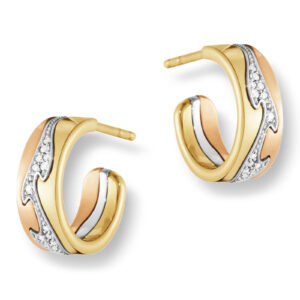 Mestergull Fusion øreringer i rosè, hvitt og gult gull med diamanter GEORG JENSEN Fusion Ørepynt