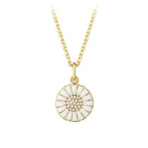Mestergull Daisy anheng i 18kt. forgylt sølv med hvit emalje og diamanter GEORG JENSEN Daisy Anheng