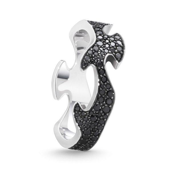 Mestergull Fushion Centre Ring i 18 K Hvitt Gull med sorte diamanter pavé GEORG JENSEN Fusion Ring