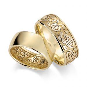 Mestergull Med detaljert lasergravering kan ringene gjøres helt spesielle og unike. Tegn gjerne deres eget mønster for gravering innvendig eller utvendig på ringene. Ringene ble her valgt i 8,0 mm bredde for å gi plass til graveringen. Prisen er pr. ring LYKKERINGENE Eksempel Ring