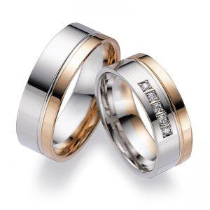 Mestergull Kombinasjon av farger er spennende og i Lykkeringene kan du velge hele 5 edle metaller. Eksemplet her viser profil 6 i rødt og hvitt gull. Prisen nedenfor er pr. ring uten diamanter da disse kan velges i mange størrelser. LYKKERINGENE Eksempel Ring