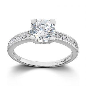 Mestergull Klassisk ring i rhodinert sølv med hvite cubic zirkonia GID Ring