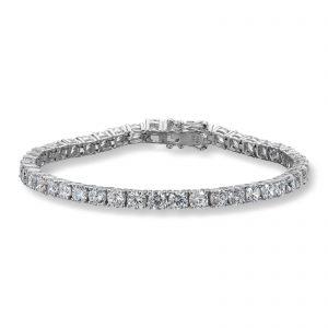 Mestergull Tidløst tennisarmbånd i rhodinert sølv med hvite cubic zirkonia GID Armbånd