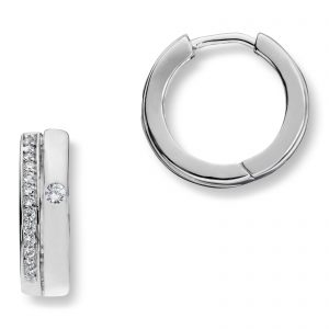 Mestergull Elegante øreringer i rhodinert sølv med hvit cubic zirkonia GID Ørepynt