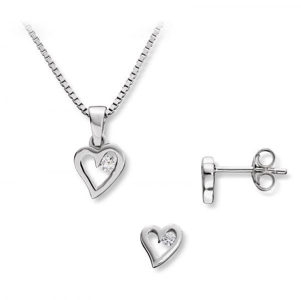 Mestergull Enkelt hjertesett i rhodinert sølv, ørepynt og anheng med hvite cubic zirkonia GID Sett
