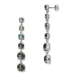 Mestergull Lekker ørepynt i rhodinert sølv med grønn mix av swarovski krystaller GID Ørepynt