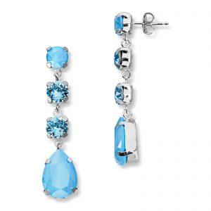 Mestergull Lekker ørepynt i rhodinert sølv med blå mix av swarovski krystaller GID Ørepynt