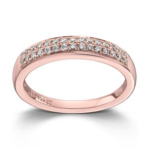 Mestergull Stilren ring i rosè gull med 30 diamanter totalt 0,24ct. HSI MG DIAMONDS Ring