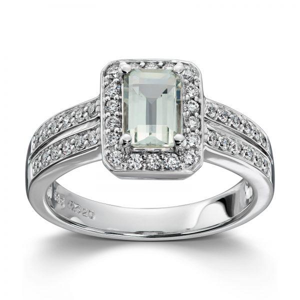Mestergull Flott statement ring i hvitt gull med grønn prasiolitt og diamanter MG DIAMONDS Ring
