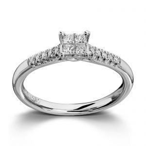 Mestergull Lekker ring i hvitt gull med diamanter i princess cut og brillianter MG DIAMONDS Ring