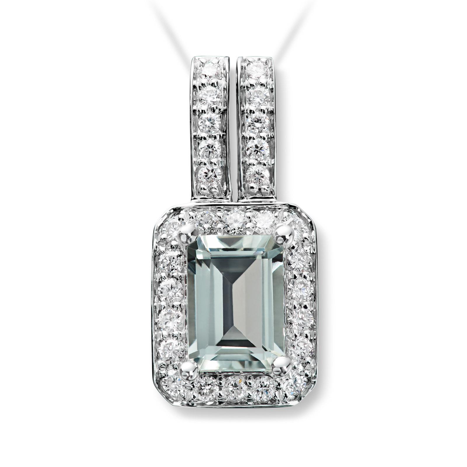 Mestergull Delikat anheng i hvitt gull med grønn prasiolitt og diamanter selges uten kjede MG DIAMONDS Anheng