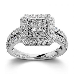 Mestergull Lekker ring i hvitt gull med 64 diamanter totalt 1,16 ct. HSi MG DIAMONDS Ring